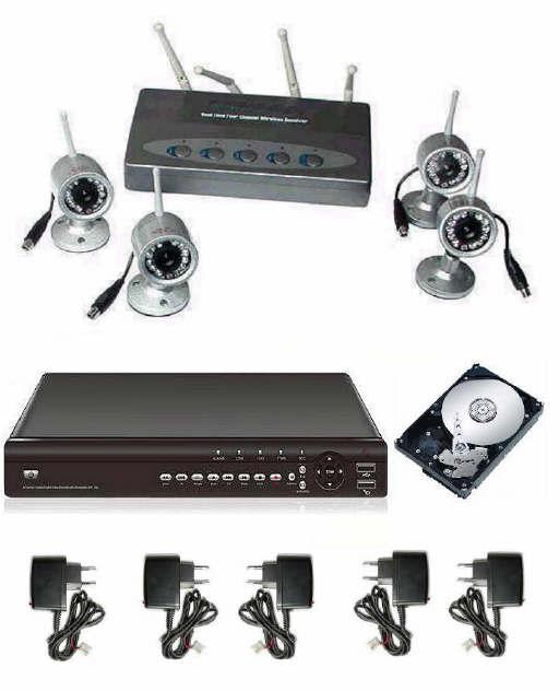 Kit videosorveglianza senza fili 4 telecamere infrarossi + DVR videoregistratore digitale + hard ...